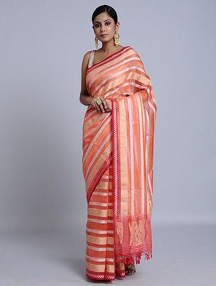 Orange-Red Handloom Banarasi Cotton Saree