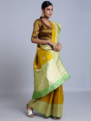 Mustard-Green Handloom Benarasi Silk Saree