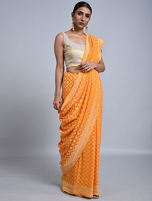 Orange Handloom Benarasi Chiffon Saree