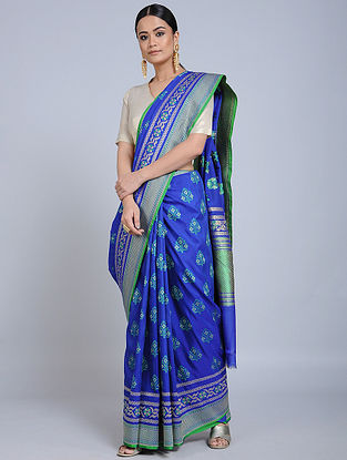 Blue-Green Handloom Benarasi Georgette Saree