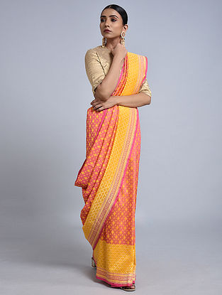 Pink-Yellow Handloom Benarasi Georgette Saree