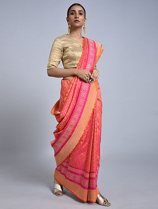 Orange-Pink Handloom Benarasi Georgette Saree