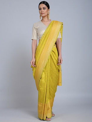 Yellow Handloom Benarasi Georgette Saree