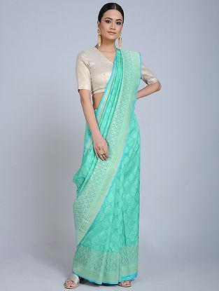 Green-Blue Handloom Benarasi Georgette Saree