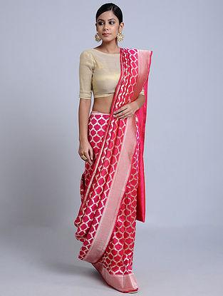 Pink Handloom Benarasi Georgette Saree