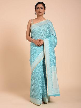 Turquoise Handwoven Cotton Saree