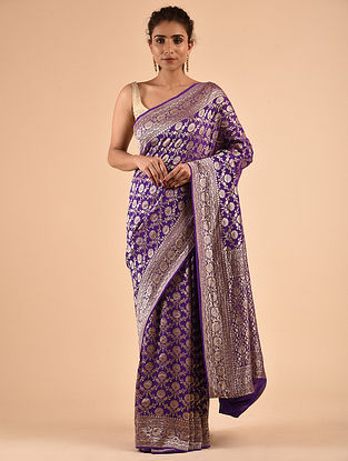 Purple Handwoven Chiffon Saree