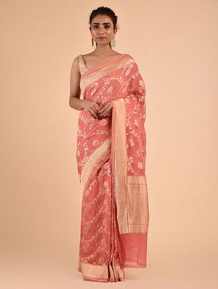 Pink Handwoven Chiffon Saree