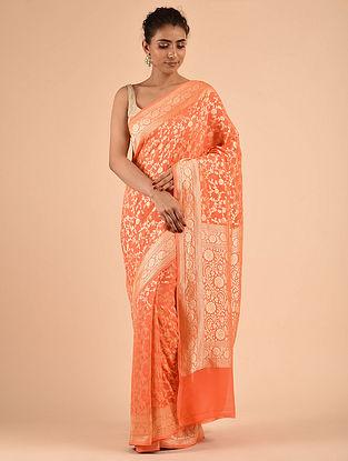 Orange Handwoven Chiffon Saree