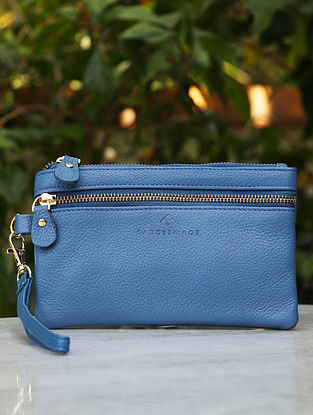 Blue Handcrafted Genuine Leather Wristlet