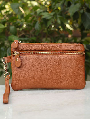 Tan Handcrafted Genuine Leather Wristlet
