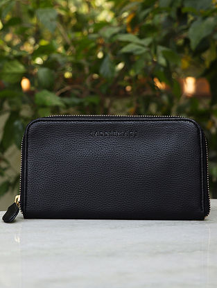 Black Handcrafted Leather Sling Bag and Wallet (Set of 2)
