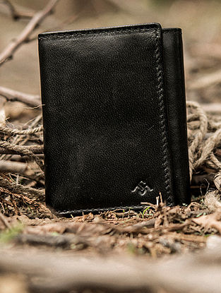 Black Handcrafted Genuine Leather Trifold Wallet