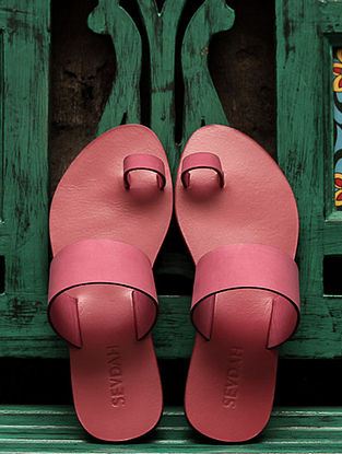 Pink Leather Flats