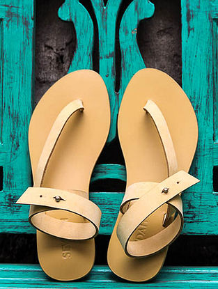 Mustard Ankle Strap Leather Sandals