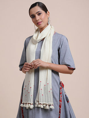 Ivory Hand Embroidered Cotton Stole