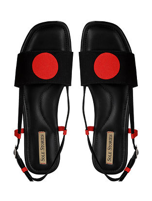 Black Red Handcrafted Faux Leather Sandals