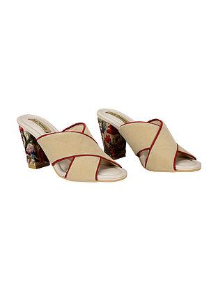 Beige Red Handcrafted Velvet Block Heels