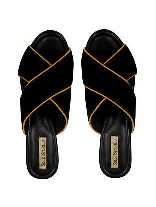 Black Yellow Handcrafted Velvet Block Heels