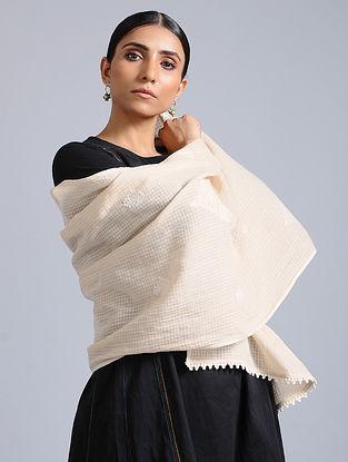 Beige Chikankari Cotton Stole