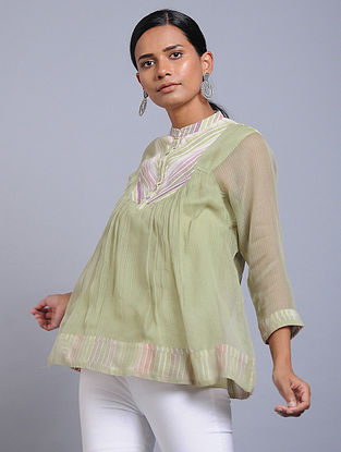 Sage Green Handwoven Cotton Kota Doria Top