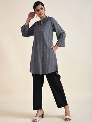Grey Embroidered Cotton Dobby Tunic with Lining