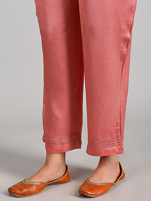 Pink Pintucks Modal Satin Pants with Sequins and Lace Details