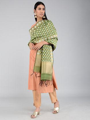 Green Benarasi Cotton Silk Dupatta