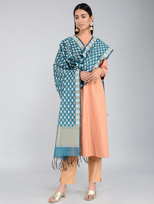 Blue Benarasi Cotton Silk Dupatta