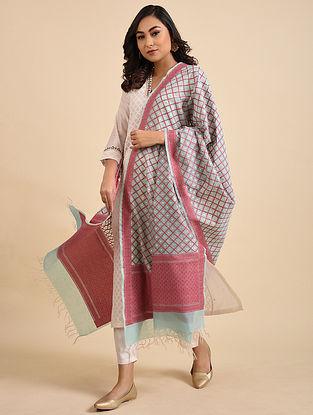 Blue-Red Handwoven Benarasi Kora Silk Cotton Dupatta