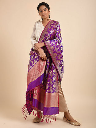 Purple Benarasi Silk Dupatta