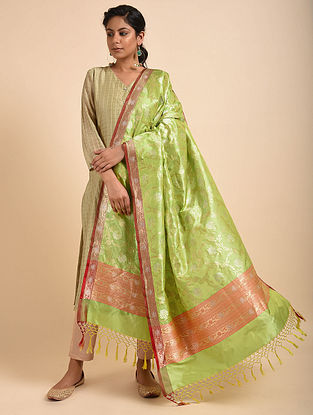 Green-Orange Benarasi Silk Dupatta