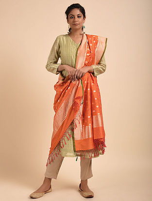 Orange Benarasi Silk Cotton Dupatta