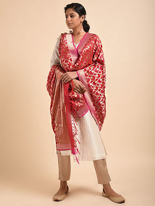 Red-Pink Benarasi Silk Georgette Dupatta