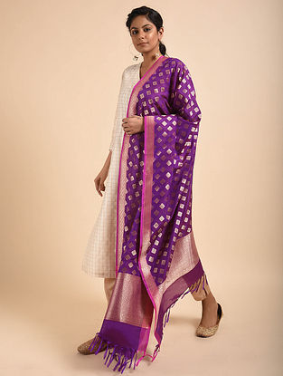 Purple Benarasi Silk Georgette Dupatta