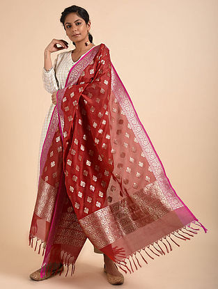 Red Benarasi Silk Georgette Dupatta