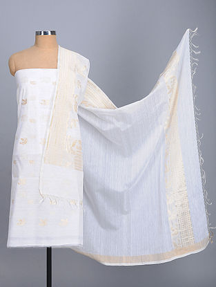 Ivory Handwoven Benarasi Kora Silk Cotton Suit Fabric (Set of 2)
