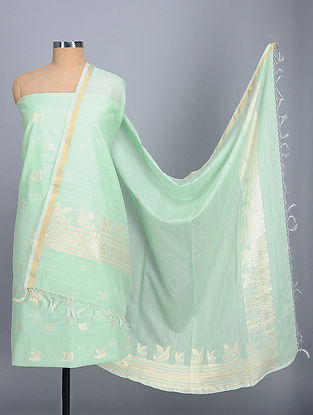 Mint Green Handwoven Benarasi Kora Silk Cotton Suit Fabric (Set of 2)