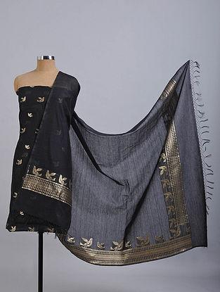 Black Handwoven Benarasi Cotton Silk Suit Fabric (Set of 2)