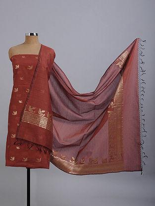 Red Handwoven Benarasi Cotton Silk Suit Fabric (Set of 2)