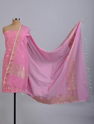 Pink Handwoven Benarasi Cotton Silk Suit Fabric (Set of 2)
