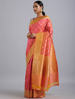 Pink Handwoven Benarasi Satin Silk Saree