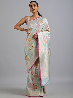 Light Blue-Green Handwoven Benarasi Katan Silk Saree