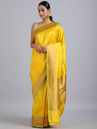 Yellow Handwoven Benarasi Katan Silk Saree