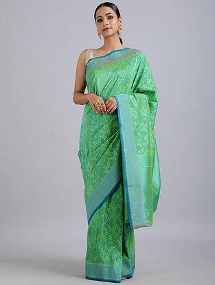 Green-Blue Handwoven Benarasi Silk Georgette Saree