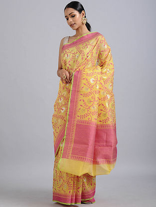 Yellow-Pink Handwoven Benarasi Cotton Silk Saree