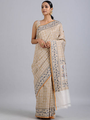 Beige Handwoven Benarasi Cotton Silk Saree