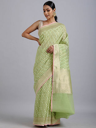Green Handwoven Benarasi Cotton Silk Saree