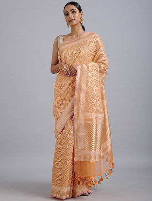 Orange Handwoven Benarasi Cotton Silk Saree