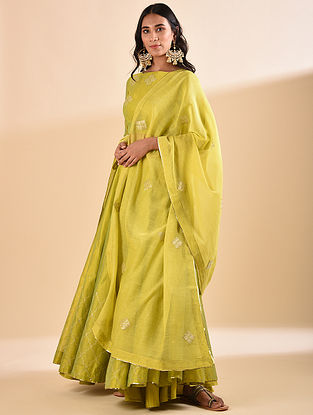 Mustard Embroidered Silk Cotton Dupatta with Sequin Work